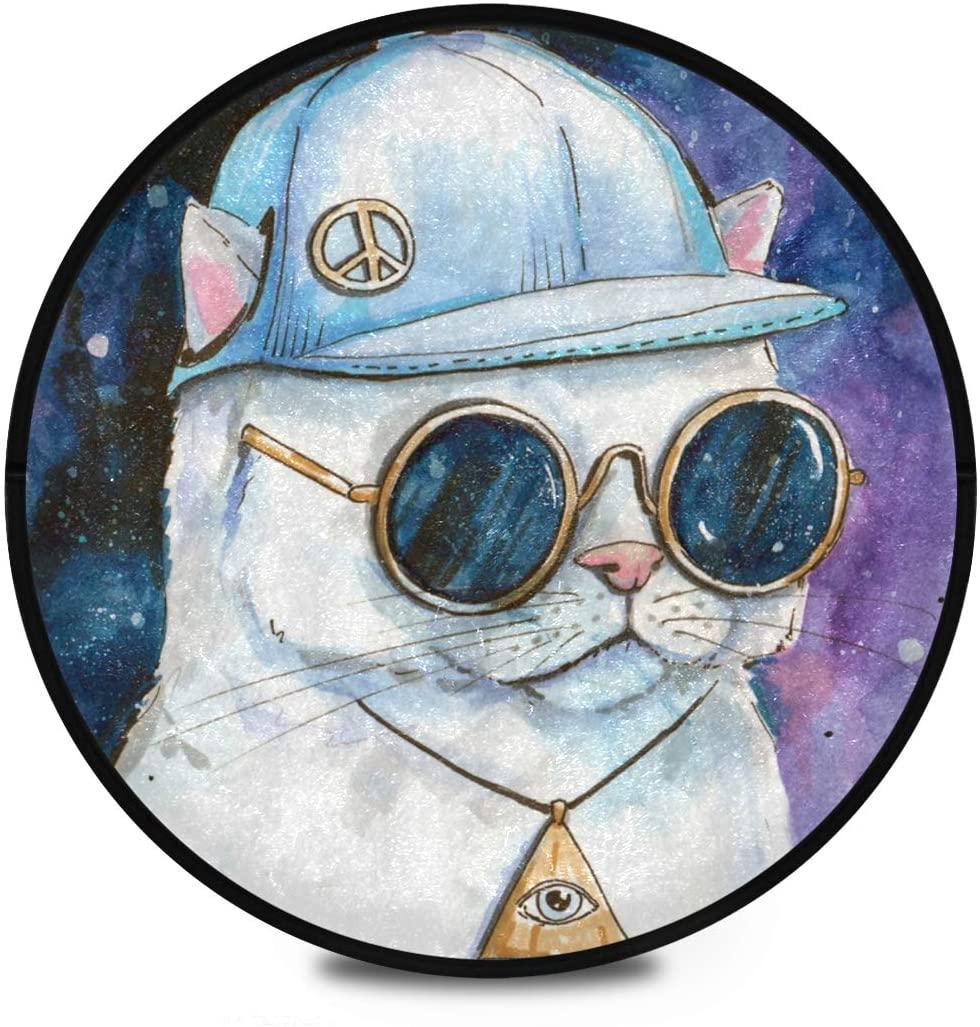 Shaggy Round Mat White Cat in Baseball Cap Round Rug for Kids Living Room Anti-Slip Rug Room Carpets Play Mat