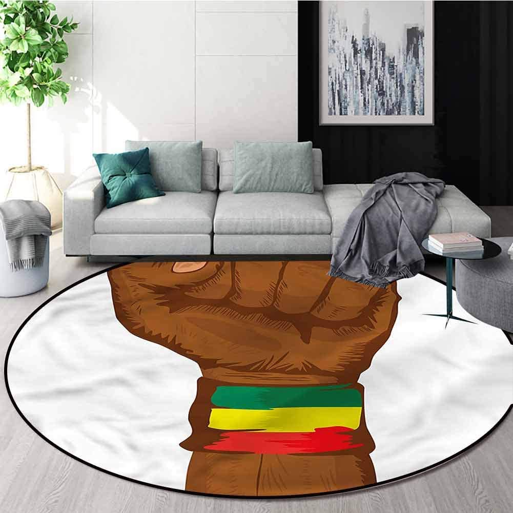 RUGSMAT Rasta Round Area Rug,Ethiopian Flag Colors Non Skid Nursery Kids Area Rug for Bedroom Machine Washable Round-24