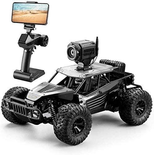 CGIIGI RC Car, 2.4Ghz 1:16 4WD Remote Control Car with FPV HD Camera Dual Control Mode, 20km/H High Speed Child Gift Remote Control Car, Adult Black