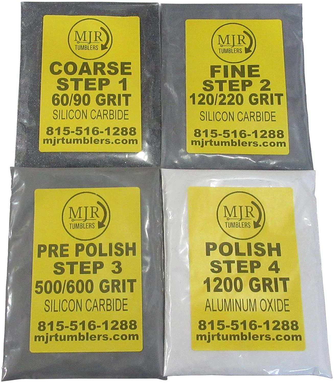 MJR Tumblers Refill Grit Kit for 12 LB Rock Tumblers Silicon Carbide Aluminum Oxide Media Polish