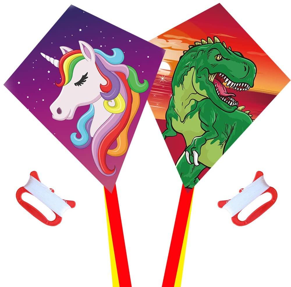 Diamond Kite [2 Pack]Dinasour+Unicorn Eddy Kite, beginners Kite for Children, Wonderful Beginner Kite for 3 years up, 60x70cm with 2x300cm long tails, Kite handle, 60m String and swivel incloud