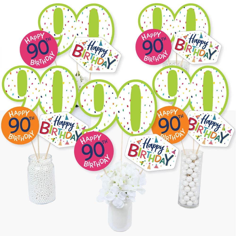 90th Birthday - Cheerful Happy Birthday - Colorful Ninetieth Birthday Party Centerpiece Sticks - Table Toppers - Set of 15