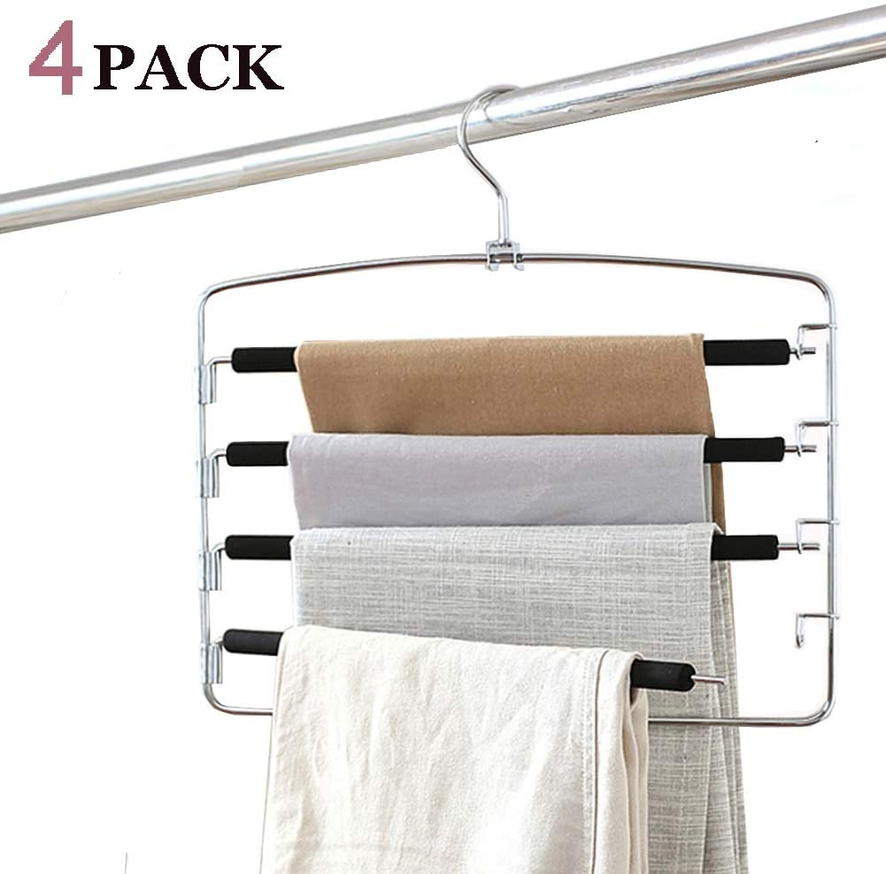 Clothes Pants Hangers 4pack - Multi Layers Metal Pant Slack Hangers,Foam Padded Swing Arm Pants Hangers Closet Storage Organizer for Pants Jeans Scarf Hanging(Black)
