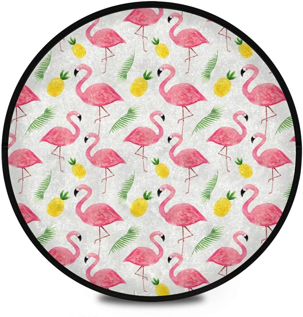 Shaggy Round Mat Flamingos Round Rug for Kids Living Room Anti-Slip Rug Room Carpets Play Mat