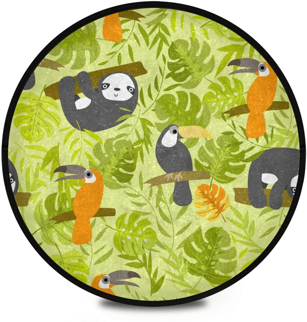 Shaggy Round Mat Sloth Small Round Rug for Kids Bedroom Anti-Slip Rug Room Carpets Play Mat
