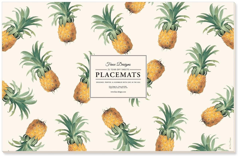 Faux Designs Pineapple 25 Count Designer Paper Placemats Easy Elegant Casual Entertaining Housewarming