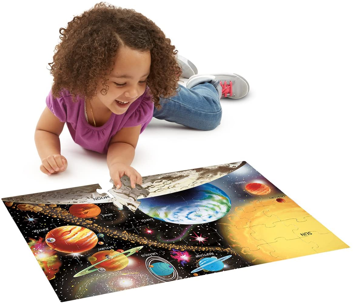 Melissa & Doug Solar System: 48-Piece Floor Puzzle + Free Scratch Art Mini-Pad Bundle [04138]