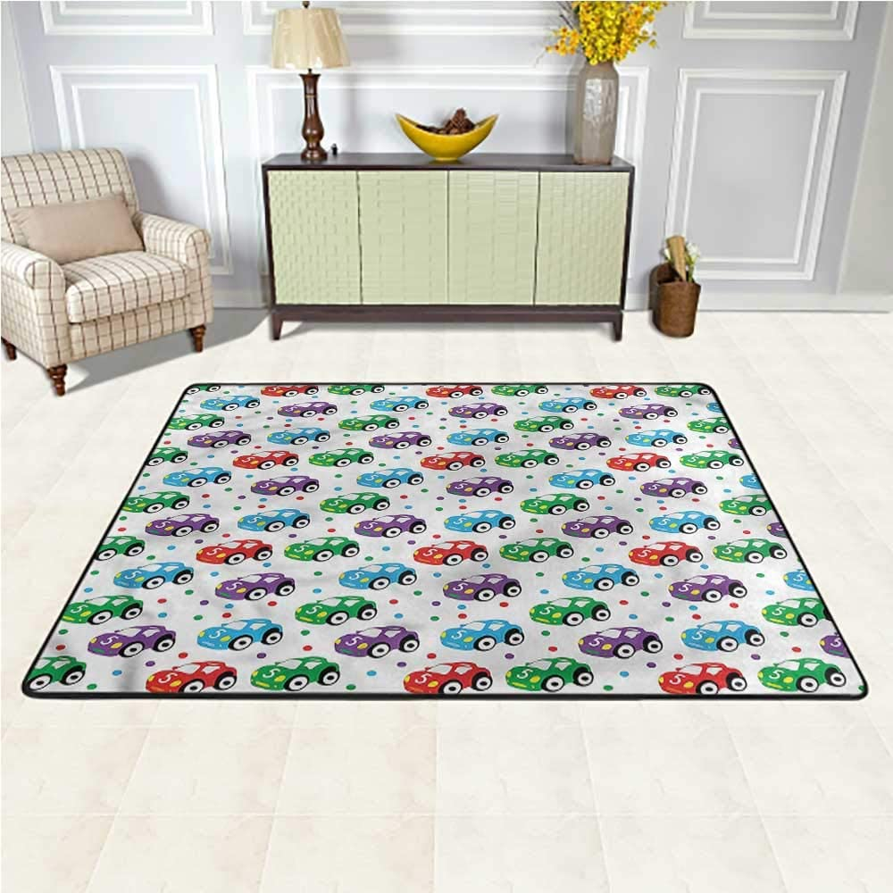 Carpet Cars, Kids Toys for Play Time Colorful Area Rug for Bathroom, Kitchen, or Laundry Room 6.5 x 10 Feet
