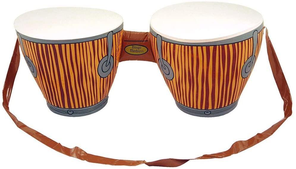Rimi Hanger Jamaican Rasta Hat with Dreadlocks and Inflatable Bongo Drum Caribbean Party Set (Inflatable Bongo Drums) One Size