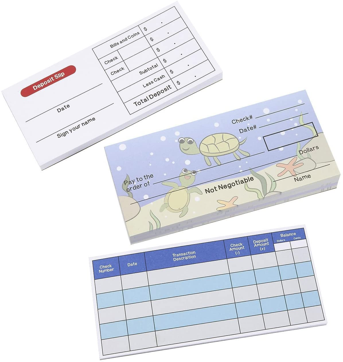 Blue Panda Play Check Set - Educational Toy for Kids - Promotes Financial Literacy - Includes Checkbook, Deposit Slip, Check Register, 150 Sheets Total, Underwater Theme