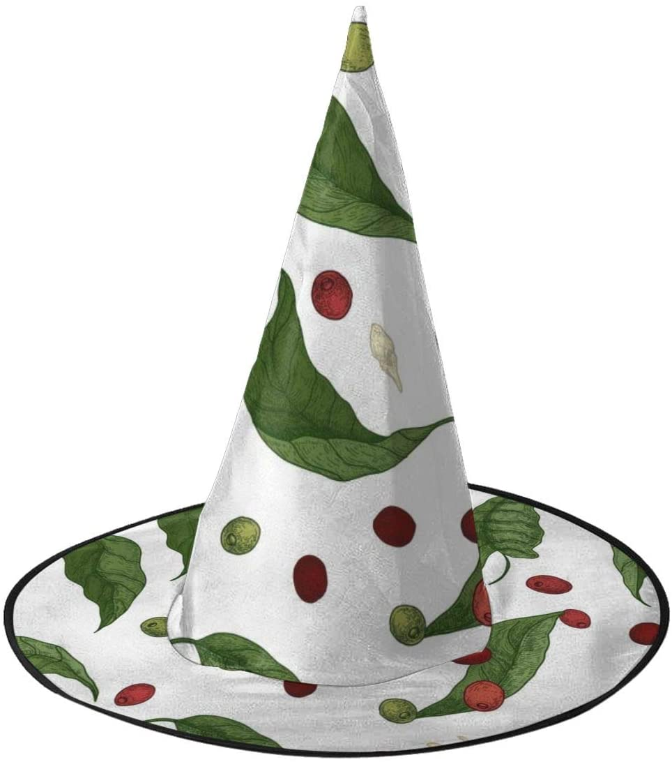 Halloween Witch Hat,Seamless Coffee Tree Branches Witches Hat for Women Halloween Party Cosplay Decoration