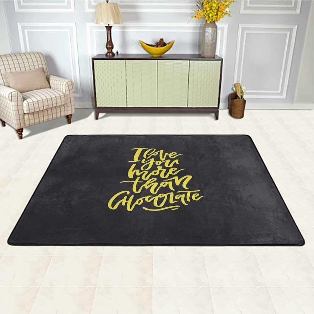 I Love You More Floor Mat for Office Chair Carpet 3' x 5', Black and Yellow Composition Romantic Words of Love for Your Valentines Kids Play Rug, Black Yellow
