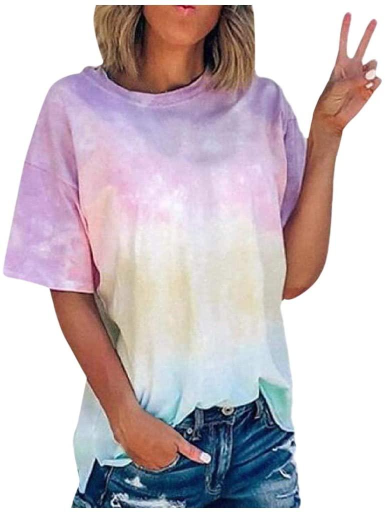 YAnGSale Top Women's Blouse Summer Cool Tee Tie-Dye Crew-Neck T-Shirt Short Sleeve Shirts Casual Tunic Tops Streetwear