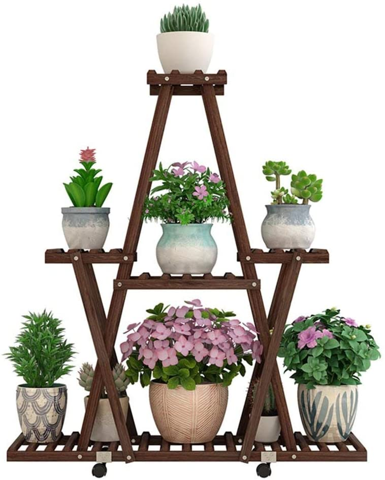 PLLP Home Plant Stand,Wooden Display Racks Garden Decoration Living Room Flower Shelf Anti-Corrosion Rugged and Durable Solid Wood Flower Stand with Tiers with Wheels Multi-Storey Wooden Indoor and