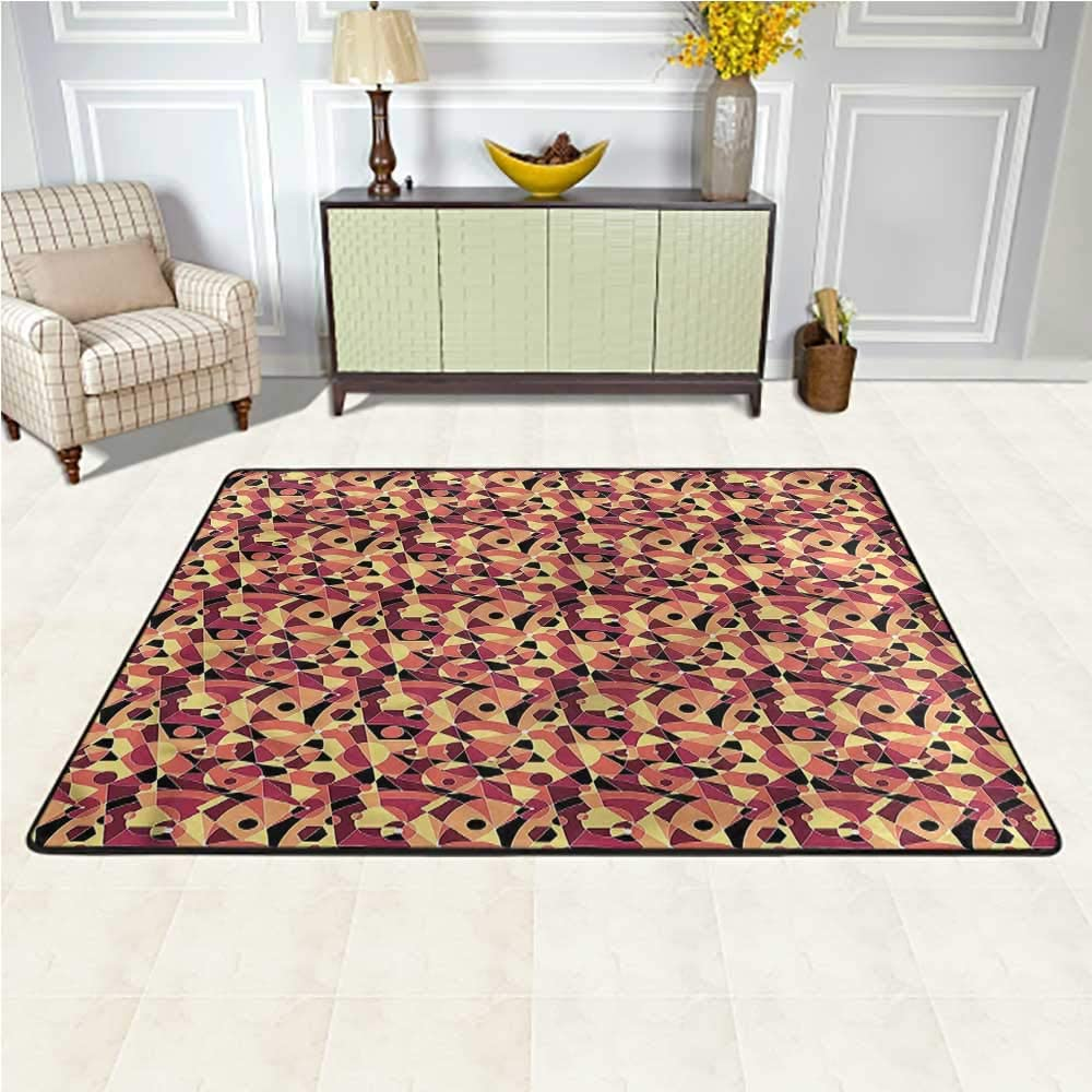 Rugs Mid Century, Motley Art Deco Luxury Carpets for Home for Bedroom Living Room Girls Kids Nursery 6.5 x 10 Feet