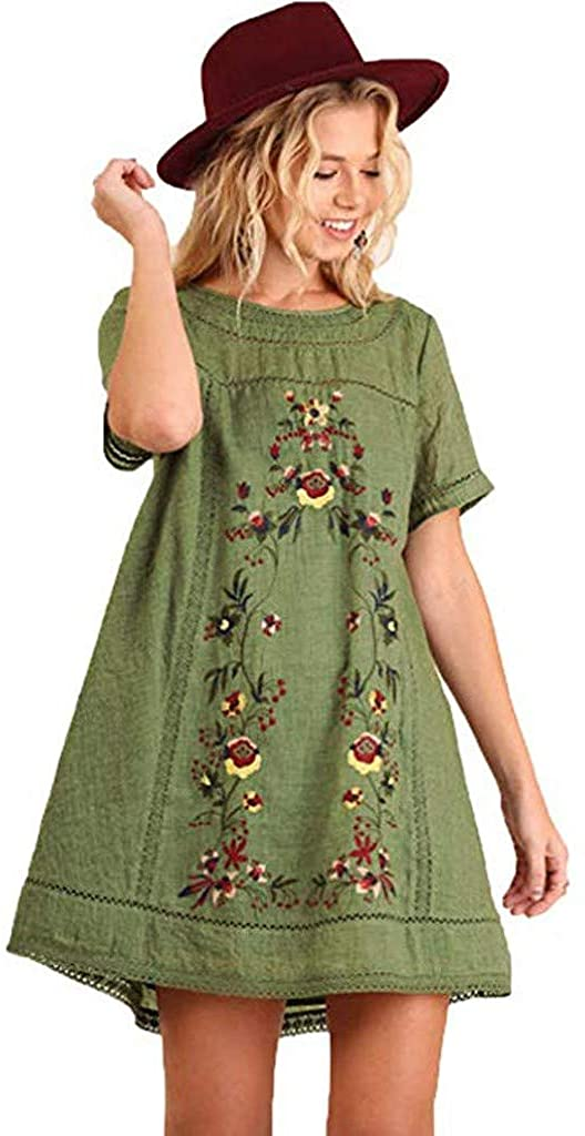 Funic New Women's Bohemian Embroidered Short Sleeve Dress or Tunic