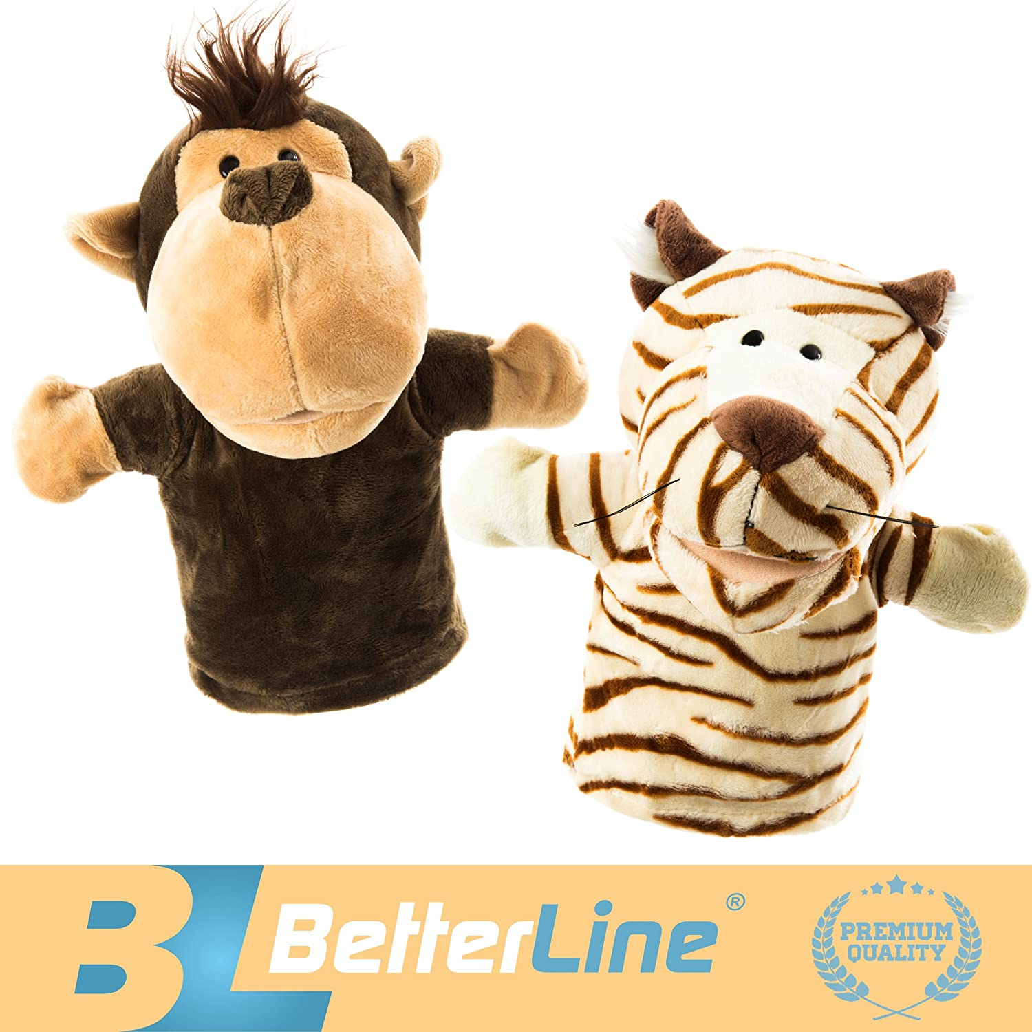 BETTERLINE Animal Hand Puppets Set of 2 Premium Quality, 9.5 Inches Soft Plush Hand Puppet for Kids- Perfect for Storytelling, Teaching, Preschool, Role-Play Toy Puppets (Monkey and Tiger)