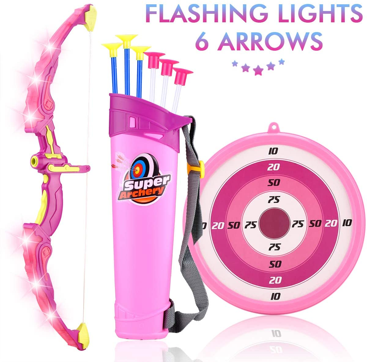 MagicWe Bow and Arrow Toy Set for Kids Archery Bow Comes with 6 Suction Cups Arrows Target with LED Flash Lights Indoor Outdoor Toys Garden Practice Hunting Series Boys Girls Age 3 Years and Up