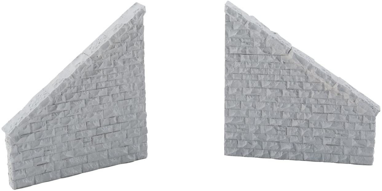 Railroad Bridge Stone Wing Walls - Resin Casting -- One Each Left & Right; Approximately: 3-3/4 x 7/16 x 4