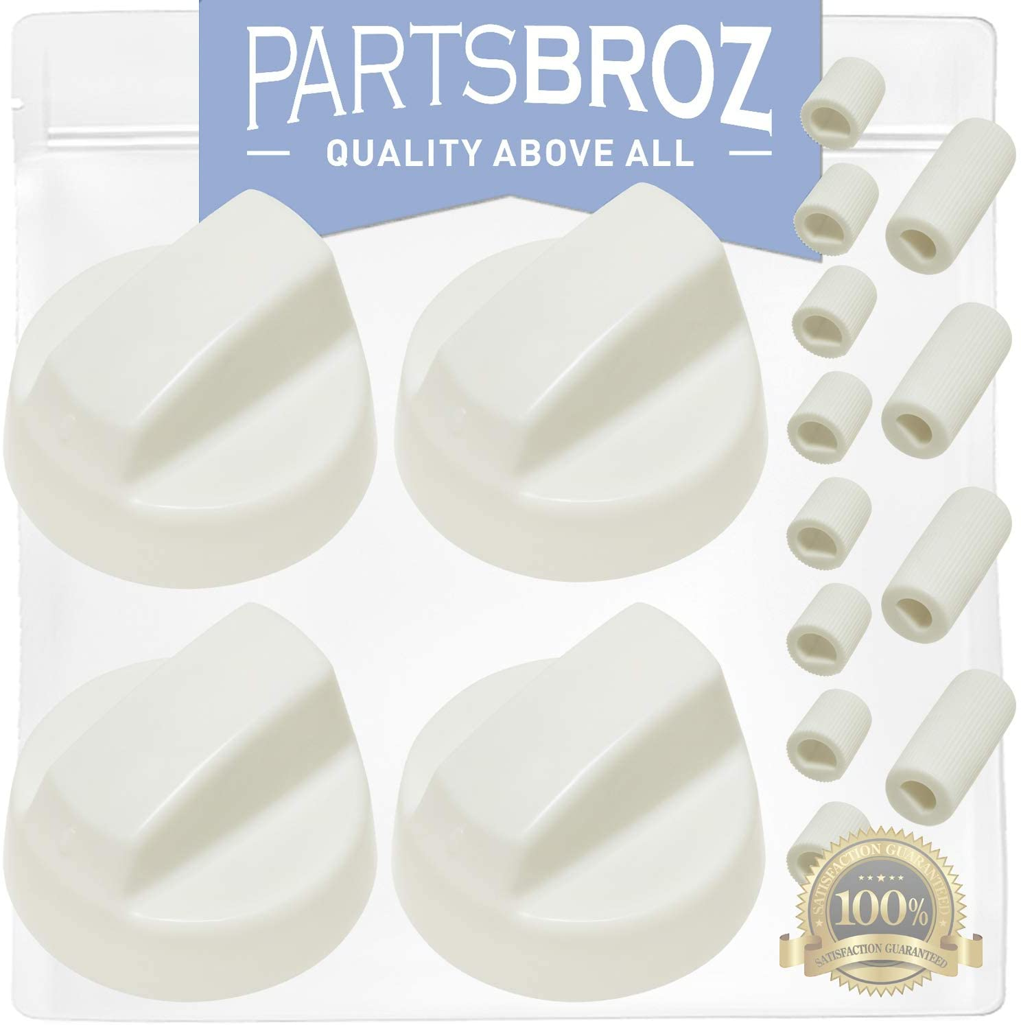 4-Pack of Universal White Stove/Oven Control Knobs with 12 Adapters by PartsBroz