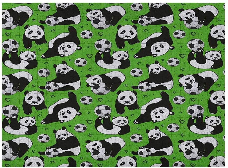 Soccer 3D Puzzles for Adults 1000 Piece, Funny Panda Animals Playing with Balls Hand Drawn Style Hearts and Stars, Lime Green Black White
