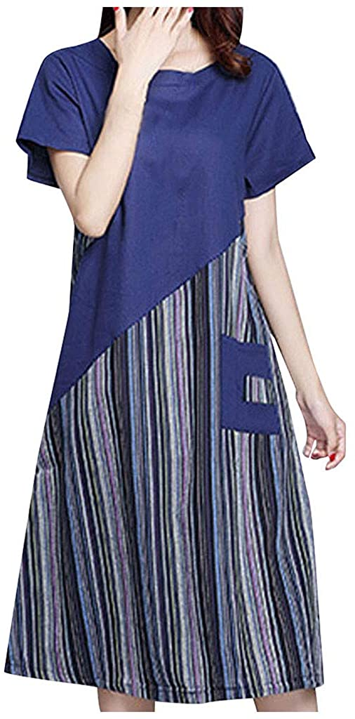 LATINDAY Womens Stripe Linen Dress Summer A-Line Sundress Hi Low Tunic Clothing with Pocket