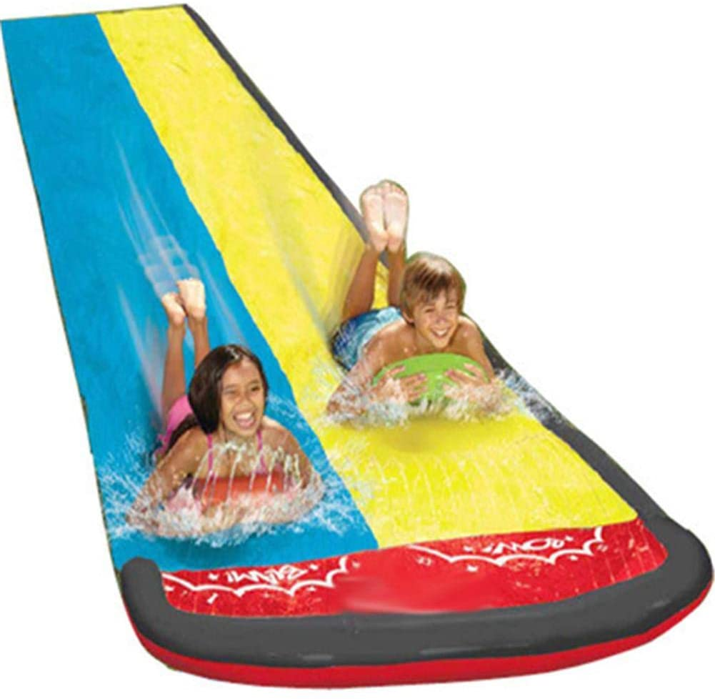 Luckybay Slip and Slide N Water Pool Kids Inflatable Kid Slides for Adults Adult-Children Water Slide Garden Racing Double Water- Slide Spray Summer Toy for Outdoors