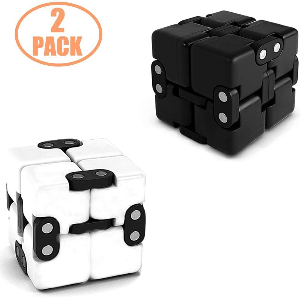 Infinity Cube Fidgets Toys Set Block Sensory Tool Toy Fidgeting Puzzle Game Cool Mini Gadget Stress Anxiety Relief Killing Time EDC Unique Novelty Idea Gift on Fingers Hands for Kids and Adults