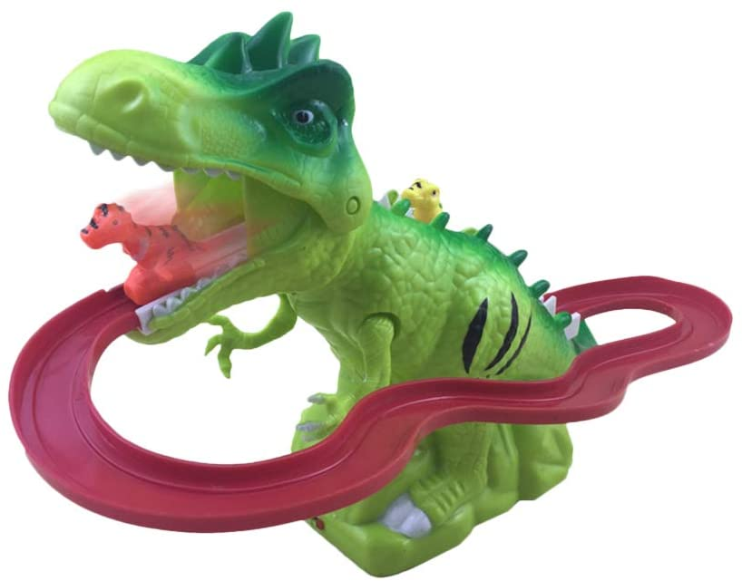 NOQ T Rex Dinosaur Electronic Railway Track Loops Race Car Train Play Set Roaring Musical Sounds Effect & Chomping Mouth, Plastic Model, Boys & Girls 6 Years Old+