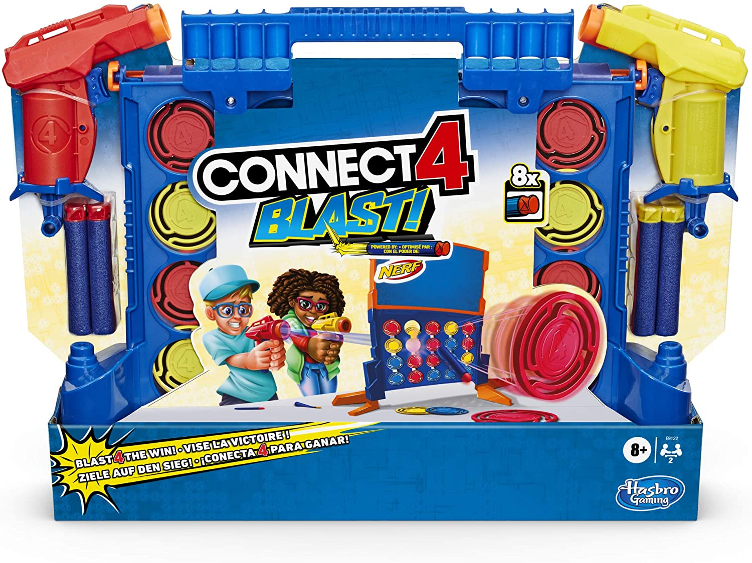 Connect 4 Blast! Game; Powered by Nerf; Includes Nerf Blasters and Nerf Foam Darts; Game for Children Aged 8 and Up