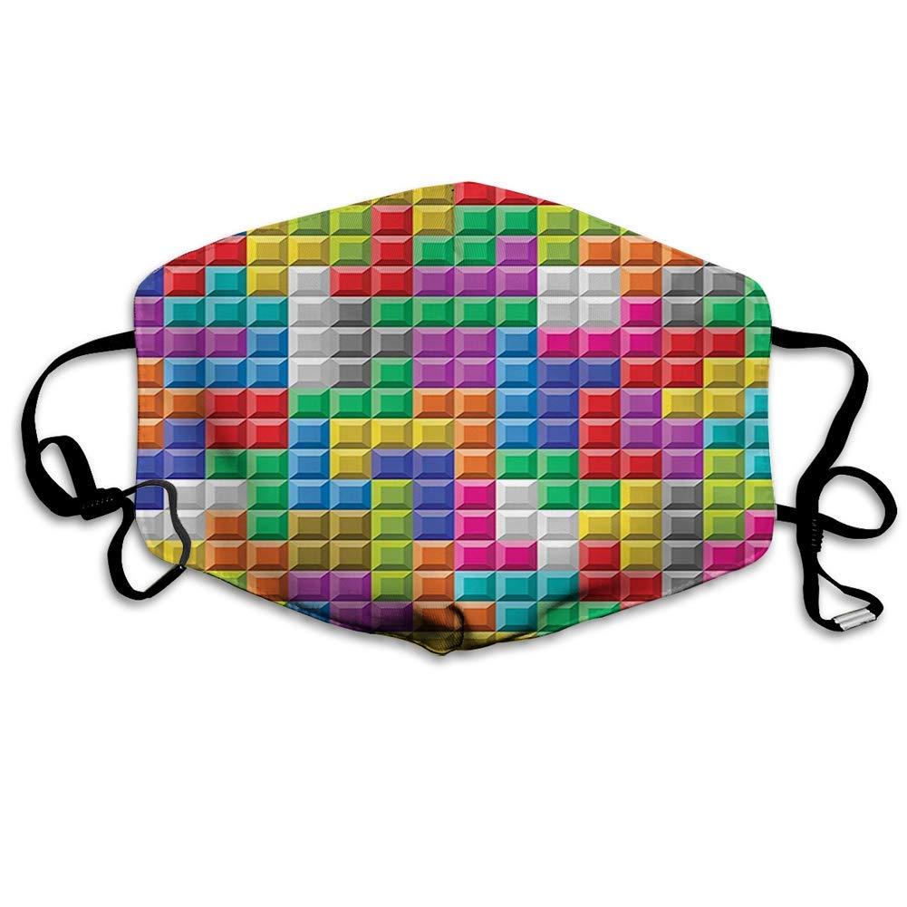 ComfortablePrintedmask,Video Games, Colorful Retro Gaming Computer Brick Blocks Image Puzzle Digital 's Play,Multicolor,WindproofFacialdecorationsformanandwoman