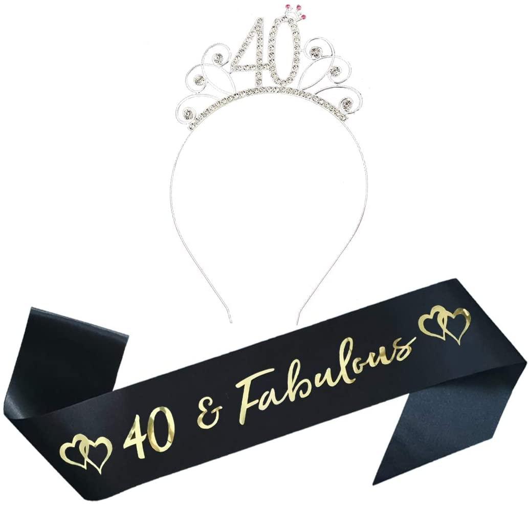 40th Birthday Party Supplies 40th Birthday Tiara and Sash Kit Rhinestone Birthday Headband and Glitter Satin Sash for Happy Birthday Party Favors, Decorations