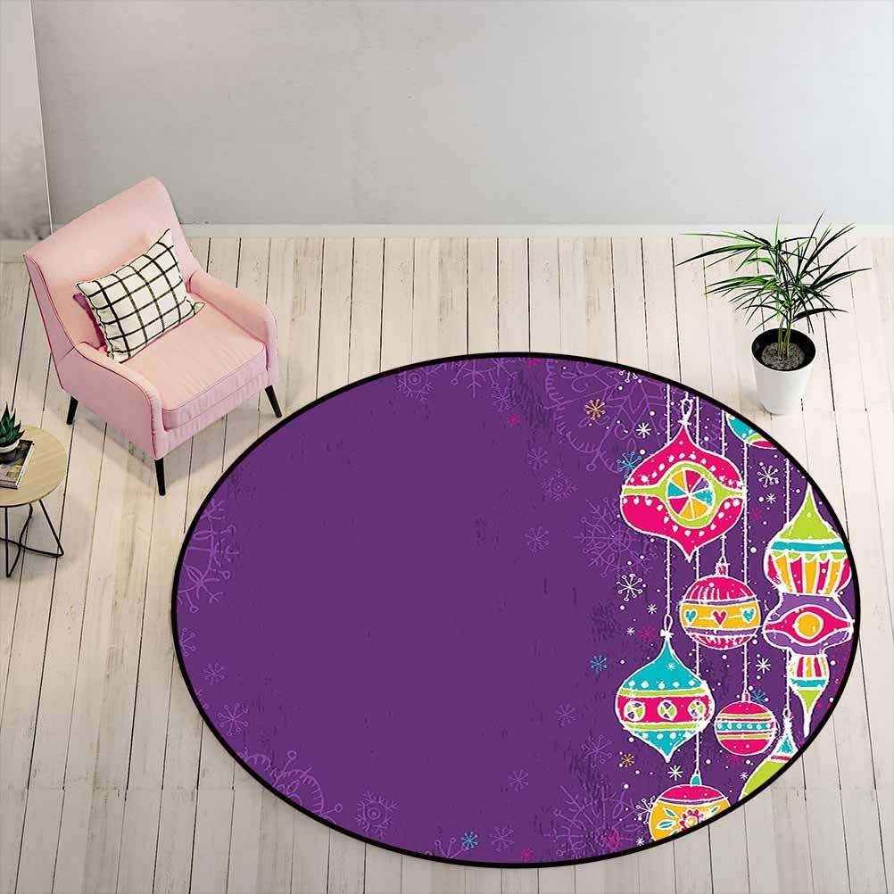 Carpet Colorful Childish Doodle Traditional Christmas Balls Festive Kids Holiday Design Solid Round Rug for Boy Girl Multicolor Diameter - 1.3 Feet
