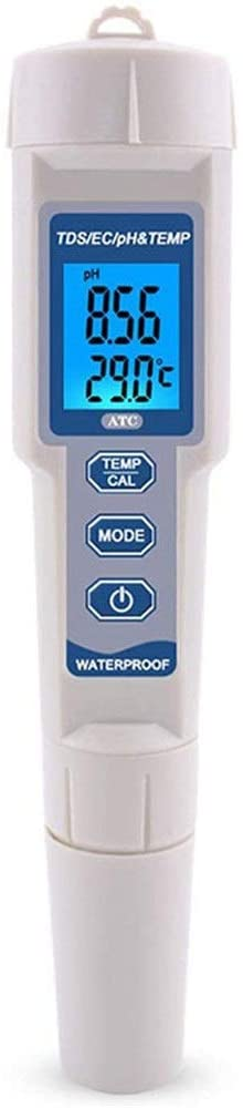 ZnMig Four-in-one Multi-Parameter Water Quality Detector Pen Type PH/tds/ec/Temperature Integrated Machine (Color : White, Size : M)