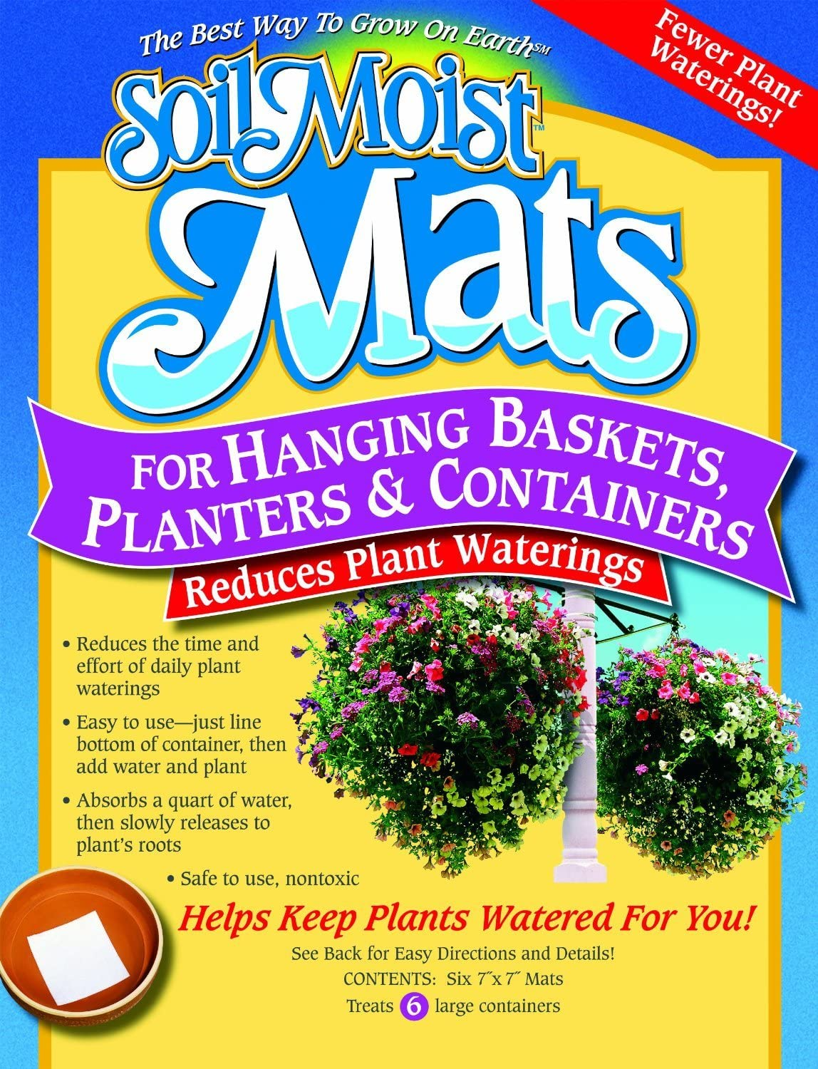 Soil Moist Watering Polymer Plant Mats - Line Baskets and Containers and Reduce Plant Waterings By 50%