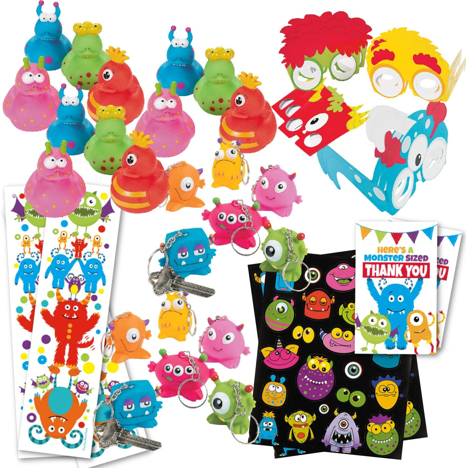 Monster Birthday Party Favors (80 Count Bulk Pack) - (12) Monster Rubbers Ducks, (12) Keychains, (12) Party Glasses, (12) Sticker Sheets, (12) Bookmarks, (20) Favor Tags - Kids Monster Party Supplies