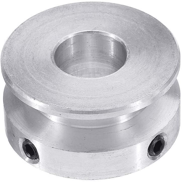 Nologo WYX-TONGBUDAI, 1PC Silver Aluminum Alloy 30MM Single Groove Pulley 4-16MM Fixed Bore Pulley Wheel for Motor Shaft 6MM Round Belt (Size : 16mm)