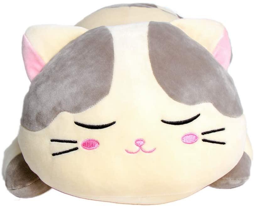 Krisphily Very Soft Plush Cat Hugging Pillow Stuffed Animals Kitten Kitty Toys Baby Gifts (Gray, 23