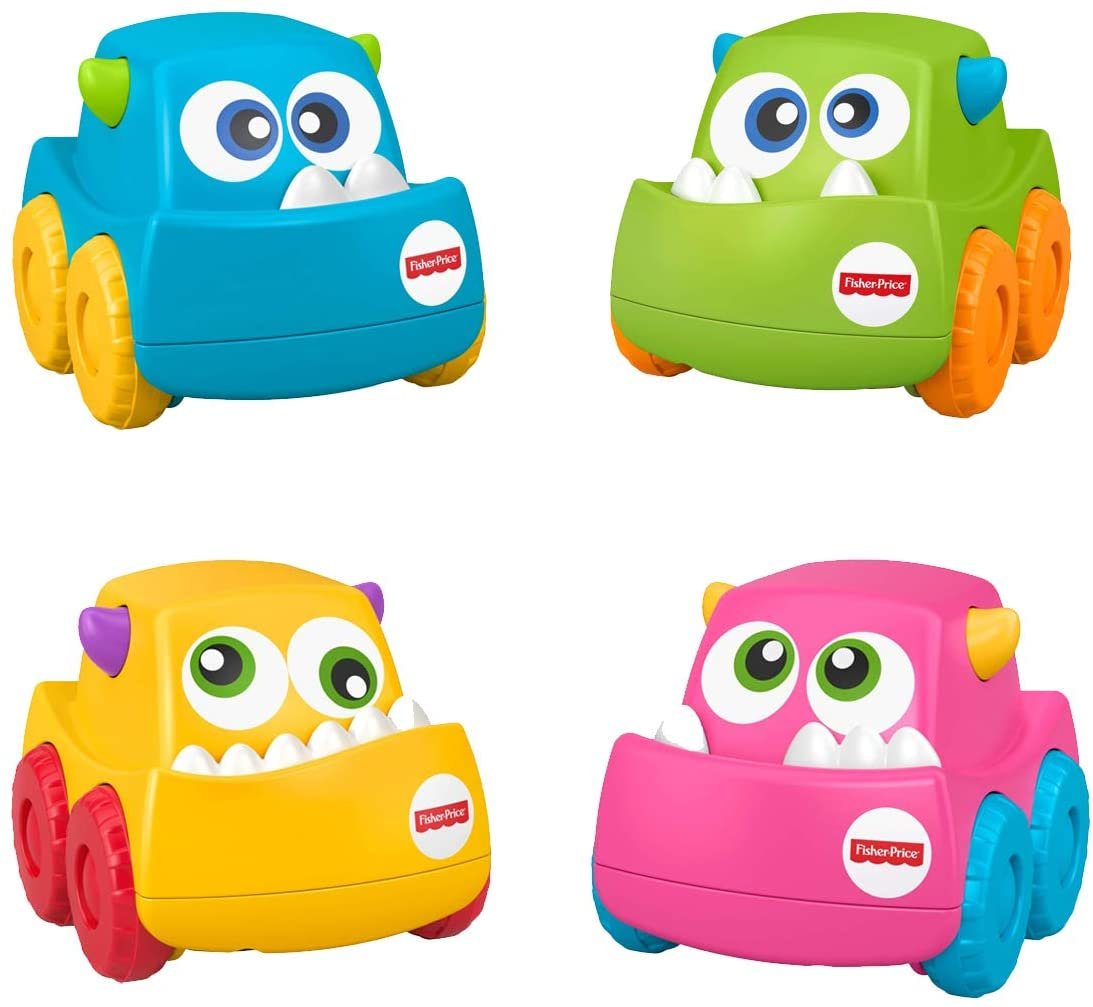 Fisher-Price Bundled Toys Mini Monster Vehicle ~ Includes Mini Monster Vehicles #1, #2, #3 and #4 in Blue, Yellow, Green and Pink