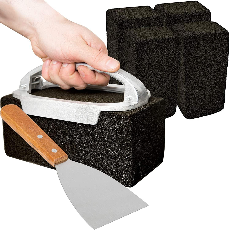 CUSINIUM [5 Pack] Griddle Cleaning Brick Set - Grill Brick Holder w/Steel Scrapper Bundle