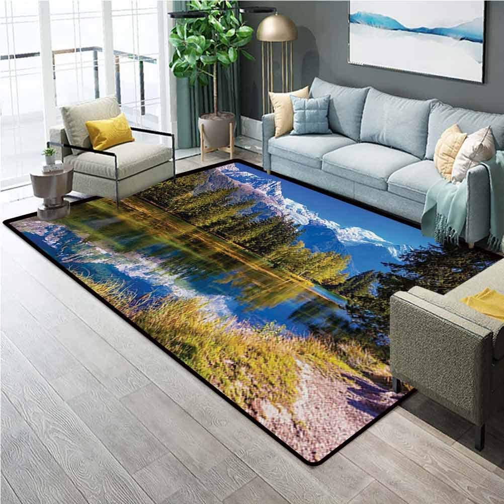 Mountain Bathroom mats and Rugs Indoor Outdoor Rugs Snow Covered Alps Peaks Covered with Fir Trees in Lake Natural Paradise for Boys Girls Kids Baby College Dorm Living Room Green White Blue 3 x 5 Ft