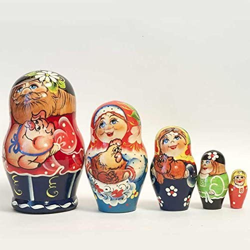 Nesting Doll Russian Family / Grandma, Granddad, Granddaughter Dolls