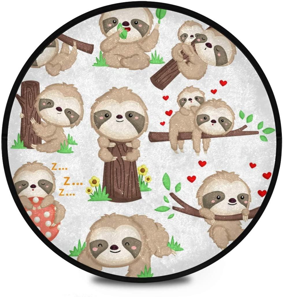 Shaggy Round Mat Cute Sloth Small Round Rug for Kids Playroom Anti-Slip Rug Room Carpets Play Mat