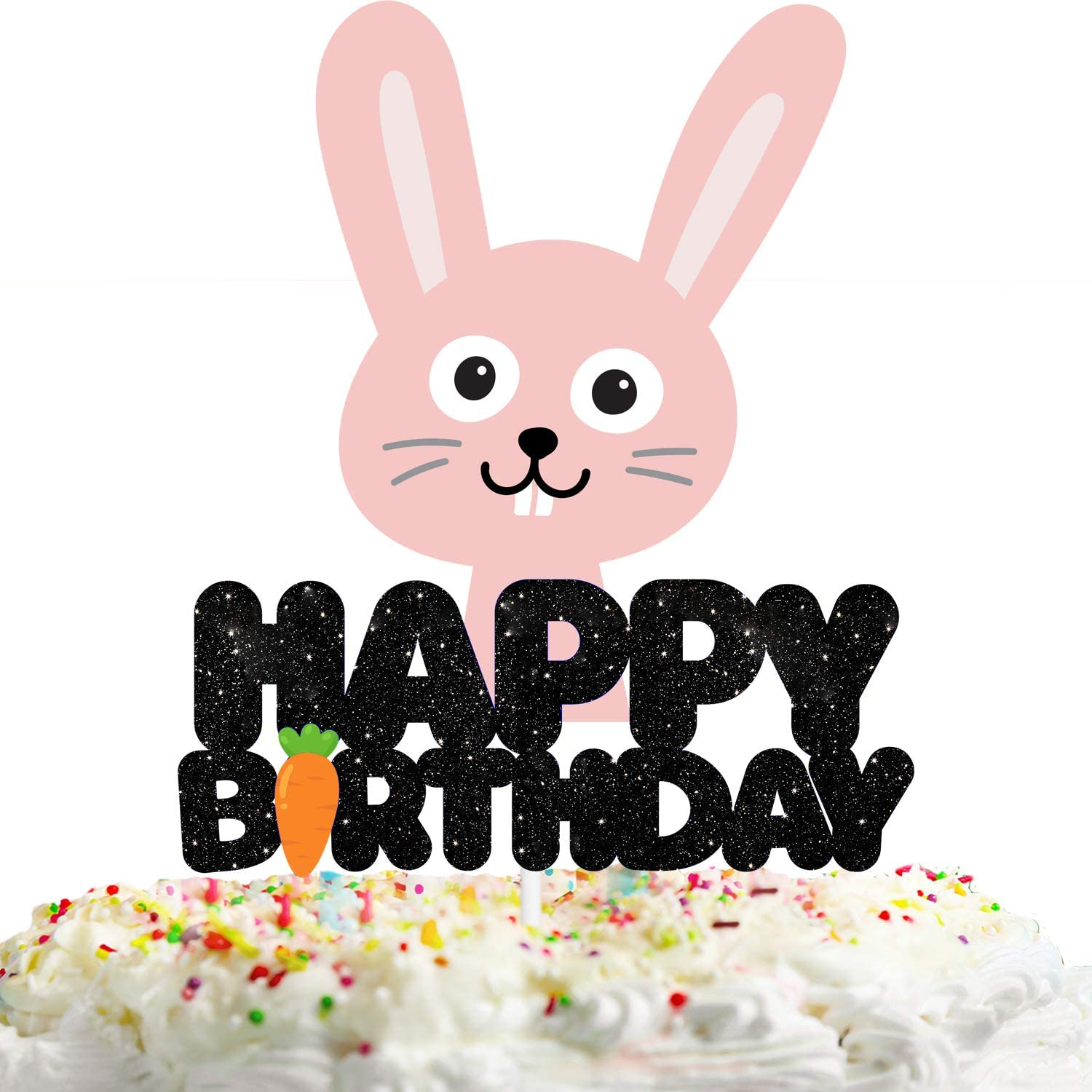 Rabbit Happy Birthday Cake Topper Decorations with Multicolored Animal for Birthday Theme Baby Shower Party Decor Supplies