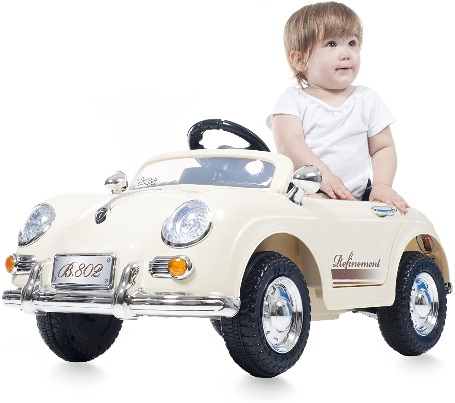 TMG White Convertable Battery Operated Classic Car with Remote - Includes 12 Bonus Road Cones!