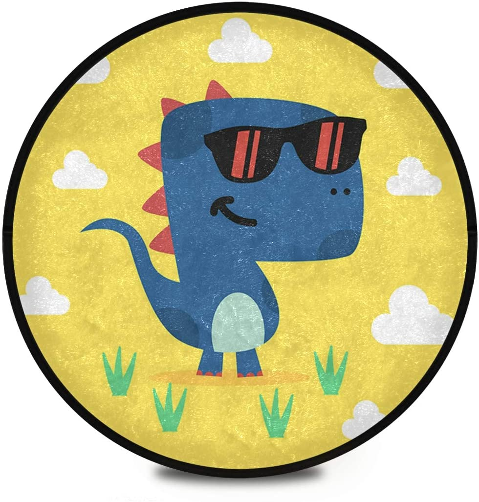 Shaggy Round Mat Cartoon Dinosaur Small Round Rug for Kids Living Room Anti-Slip Rug Room Carpets Play Mat