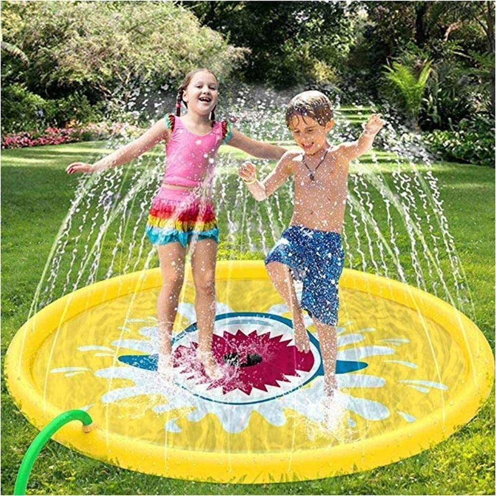 NJYT Sprinkle and Splash Play Mat Sprinkler Pad for Kids Over 6 Years Old/Pets Summer Garden Outdoor Spray Water ( Color : Yellow , Size : 67 inch )