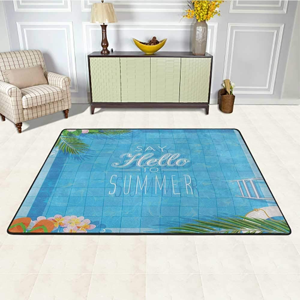 Quote Outdoor Rug 4' x 6', Say Hello to The Summer Slogan on a Pool with Ladder Flip Flops and Flowers Design Kids Carpet, Multicolor