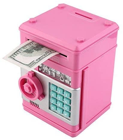 Stylebeauty Electronic Password Piggy Bank Cash Coin Can Money Locker Auto Insert Bills Safe Box Password ATM Bank Saver Birthday Gifts for Kids ( Pink )