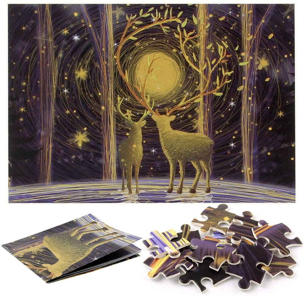 WYYZSS 3D Jigsaw Puzzle, 1000 Pieces of Paper Puzzles for Adults, Elk, Youth Puzzle, Decompression Toys - Kit Gifts for Adults and Kids